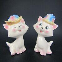 Vtg Cat Salt Pepper Shaker White Kittens Flower Hats Anthropomorphic Japan (457)