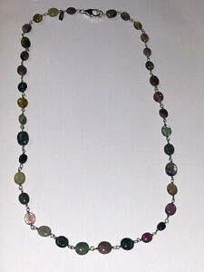 """Multi Color Tourmaline Beaded Chain Necklace 18"""" Sterling Silver 925 Signed S&B"""