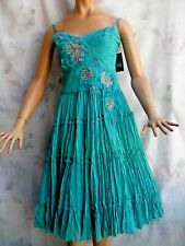 NEW $598 BCBG MAXAZRIA CHIC  MARINE SILK CRINOLINE PLEATED BEADED DRESS S
