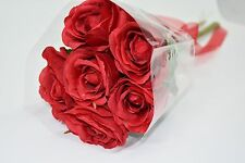 Valentines 6 Red Roses Bouquet with Sparkle Hearts and Red Organza Ribbon