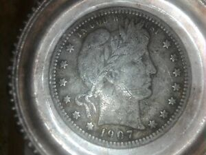 OLD 1907 D BARBER QUARTER !!!  WILL SHIP FREE !!! TAKE A LOOK !!!