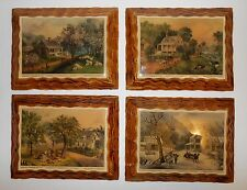 Wooden Currier & Ives New York Lithographs American Homestead  Set Of 4 Seasons