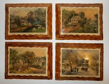 Vintage Wood Currier & Ives 4 Seasons New York Lithographs American Homestead