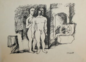 1987 NUDE WOMAN MALE INK DRAWING SIGNED