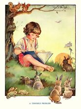Postcard: Vintage repro print - Child Reads Book to Frogs, Bunnies & Squirrels