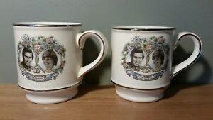 2 Sadler England Charles And Diana Commemorative Marriage Coffee Mugs 1981