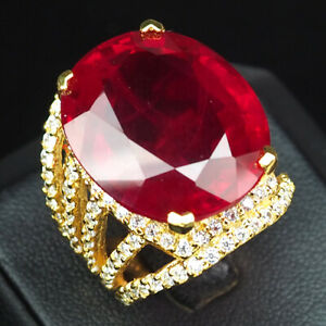 RUBY BLOOD RED OVAL 35.20 CT.SAPPHIRE 925 STERLING SILVER GOLD RING SZ 6.75 GIFT