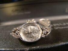 Pretty Ladies Gruen Genuine Diamond Wind Up 17 Jewel Watch W/ Box