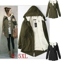 Women Winter Warm Hooded Fleece Coat Thicken Long Jacket Parka Tops Plus Size