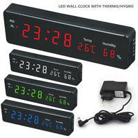 Large Digital Jumbo LED Wall Desk Alarm Clock Display Calendar Temperature