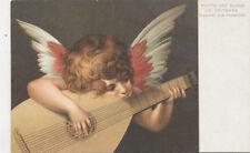 C6882 1906 Postcard Little Angel Girl Playing Mandolin Art