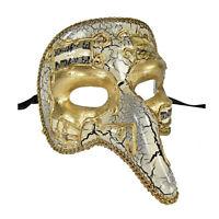 Venetian Half Face Mask Masquerade Capitano Nose Carnivale Mens White Commedia