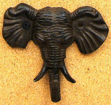 Cast Iron Elephant Head Hook Rustic Brown Wall Mount Wall Mount