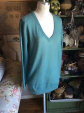 Dries Van Noten Women's Size Medium Teal Green V Neck Long Sleeve Sweater Top