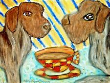 Dog Collectible Art Print 4 x 6 Artist Ksams Wirehaired Pointing Griffon Coffee