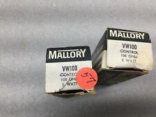 NEW IN BOX LOT OF 2 MALLORY 100 OHM 5WATT POTENTIOMETER VW100