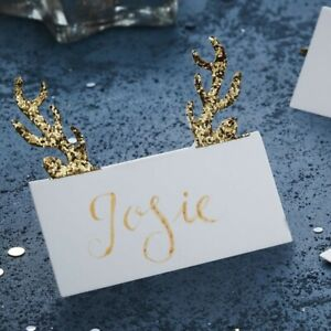Antler Christmas Name Place Cards 10pk Gold Glitter Reindeer Table Decoration