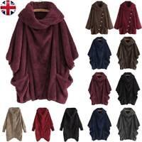 Women Winter Teddy Bear Coat Jacket Fluffy Fleece Poncho Cape Cloak Outwear