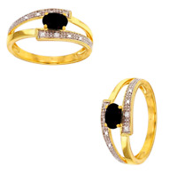 Bague Pierre Saphir et Diamants En OR JAUNE 9 CARATS 375/1000 T52-54-56-58