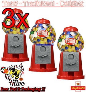 3 x Gumball Vending Machine Gum Dispenser Toy Coin Bank 80g Bubble Gum Included
