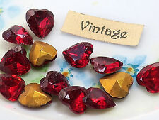 #52C Ruby Heart Rhinestones Vintage Glass Rhinestone Heart Foil 9x8mm Antique