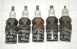 """5 1930-50'S CHAMPION SPARK PLUG #3COMM 7/8""""X18 THREAD NOS NEW CONTINENTAL ENG"""