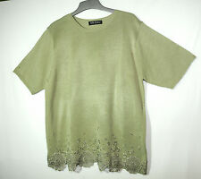 KHAKI GREEN LADIES CASUAL FORMAL TUNIC TOP SIZE XL JOELLA DI MARCO