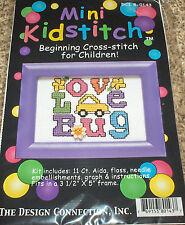 """""""Love Bug"""" Flowers & Car Cross Stitch Kit w/ Mill Hill Button NIP 3.5x5"""""""
