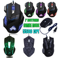5500DPI LED Optical USB Wired Gaming Mouse 7 Buttons Gamer Laptop Computer Mice