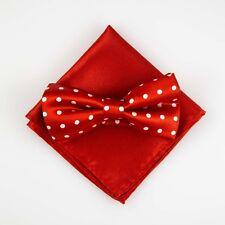 Red Large Dots Bowtie Pocket Square Set Classic Mens Adjustable Tuxedo BPK69