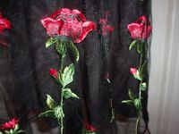 Modcloth Dress Black Tulle Fit & Flare Red Roses size M (B103)