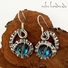 Aura Quartz Crystal Handmade Earrings Sterling Silver Wire Wrapped Gemstone