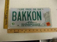 2014 14 NEW HAMPSHIRE NH VANITY LICENSE PLATE BAKKON BACON PORK PIG MEAT FOOD