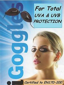 2  PAIR of SUNBED TANNING GOGGLES UV TANNING EYE  PROTECTION GENUINE iGOGGLES
