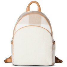 ADAM LIPPES White and Tan Plaid Backpack