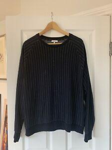 Men's Navy With White Pinstripe Reiss Sweatshirt XL