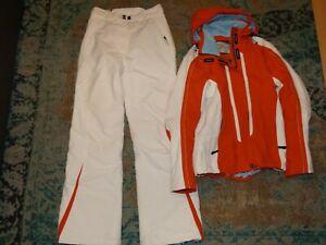 LINE Skianzug Ski Jacke Hose Snowboardanzug Weiß Orange 5000 MM Größe S