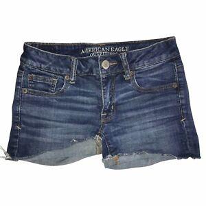 American Eagle Medium Wash Raw Hem Distressed Frayed Shortie Shorts Women's 2
