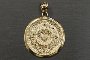 10K Solid Yellow Gold Aztec Mayan Sun Calendar Charm Pendant. 2 Sizes