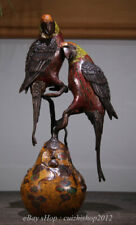 """14"""" Marked Old China Cloisonne Copper 2 Parrot Bird Incense Burners Statue"""