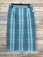 Betty Hanson Womens 12 Vintage 80s Blue Plaid A Line Skirt Pleated Pockets Midi