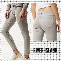 ex-River Island Grey Biker Amelie Super Skinny Jeans