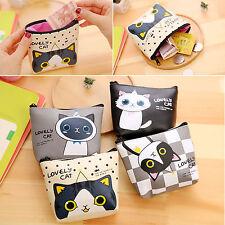 Lovely Cat Small Wallet Card Holder Zip Coin Bag Purse Clutch Handbag Pouch