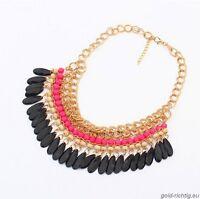 Statement XXL Kette Blogger rosa schwarz gold (Choker Chunky Collier Halskette)