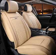 BLACK FRIDAY Car Seat Covers PU Leather Cushion For All 5-Seat Car Beige 6pcs