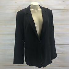 Garnet Hill Silk Blazer 12 Black Jacket Long One Button Classic Career Lined B74