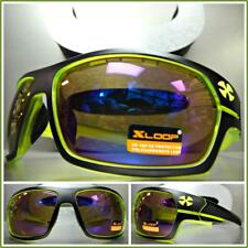 WRAP AROUND SPORT Motorcycle Riding Driving SUN GLASSES Black & Neon Green Frame