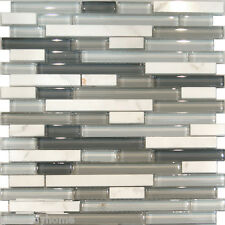 Sample-Carrara White Marble & Gray Glass Linear Mosaic Tile Kitchen Backsplash
