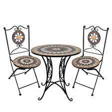 3tlg Sitzgruppe Sitzgarnitur Mosaiktisch Ø70cm+2x Polyrattan Stapelstuhl Schwarz
