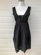 BARDOT Black Cotton Dress With Broderie Hem - Size 10